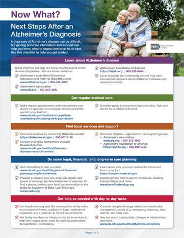 Next Steps after an Alzheimer's Diagnosis checklist