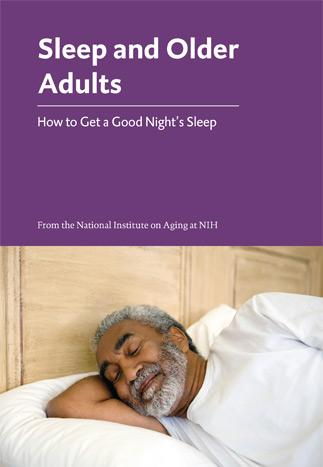 Sleep and Older Adults booklet cover with picture of older man sleeping on a bed