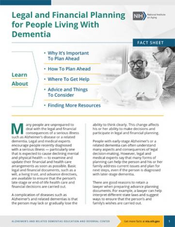 Legal and Financial Planning for People Living With Dementia Fact Sheet Cover
