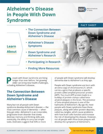 Image of the fact sheet: Alzheimer's Disease in People with Down Syndrome, with related information presented on the first page.