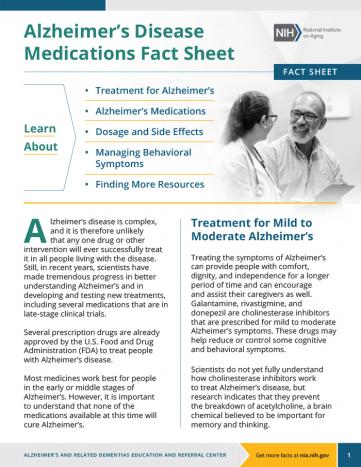 First page of the Alzheimer's disease medications fact sheet.