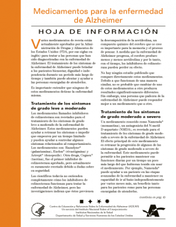 Medicamentos para la enfermedad de Alzheimer (Alzheimer's Disease Medications Fact Sheet)