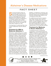 Alzheimer's Disease Medications Fact Sheet